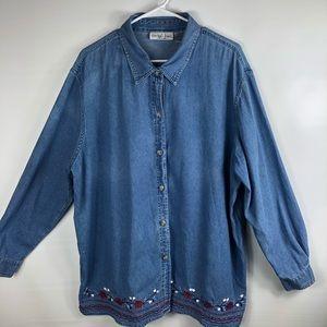 Embroidered Victoria Jones plus size 1X Top blouse